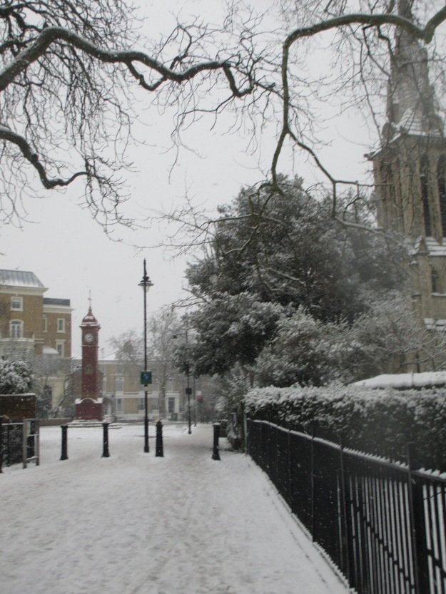 Snowy Highbury Barn.