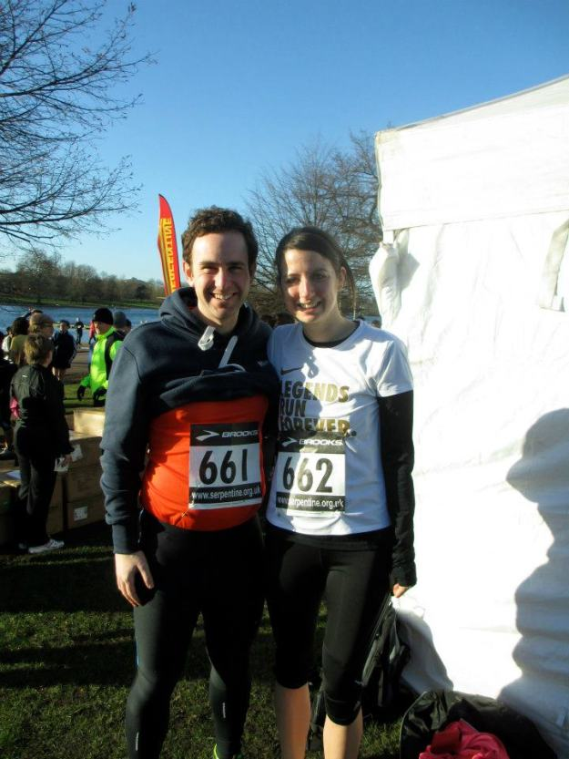 Us at the start line. Direct sunlight is not your friend after only 5 hours of sleep.