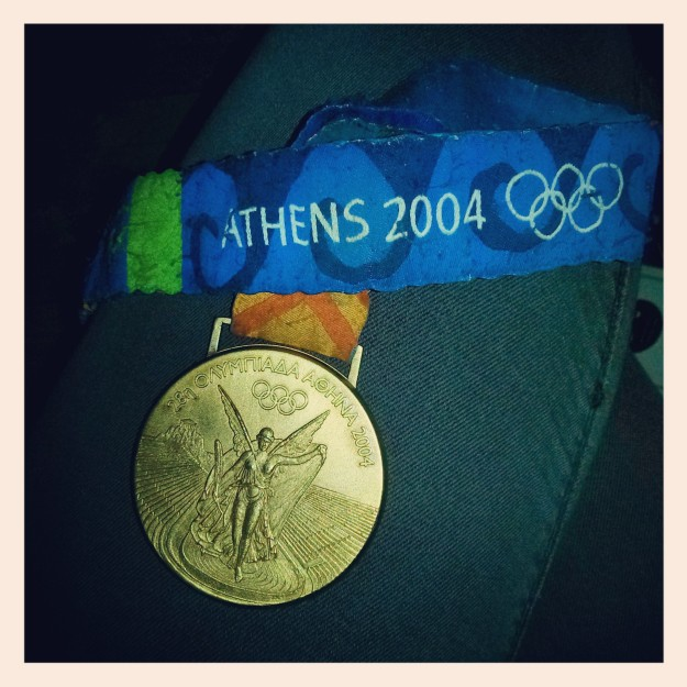 An Olympic gold medal. On my lap. I have insane #medalenvy now.