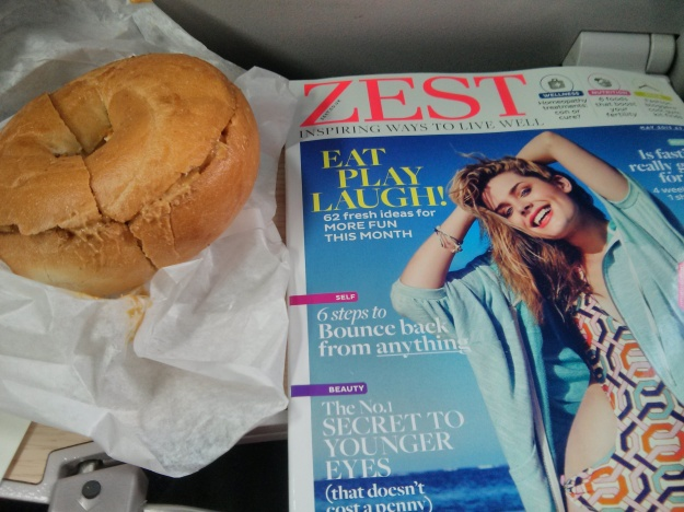 Pre-race fuel & reading on the train.