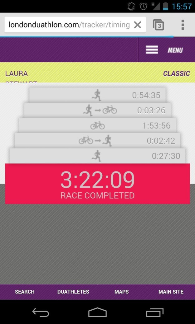 The tracker app up to date right after the race so it was easy to see your times.