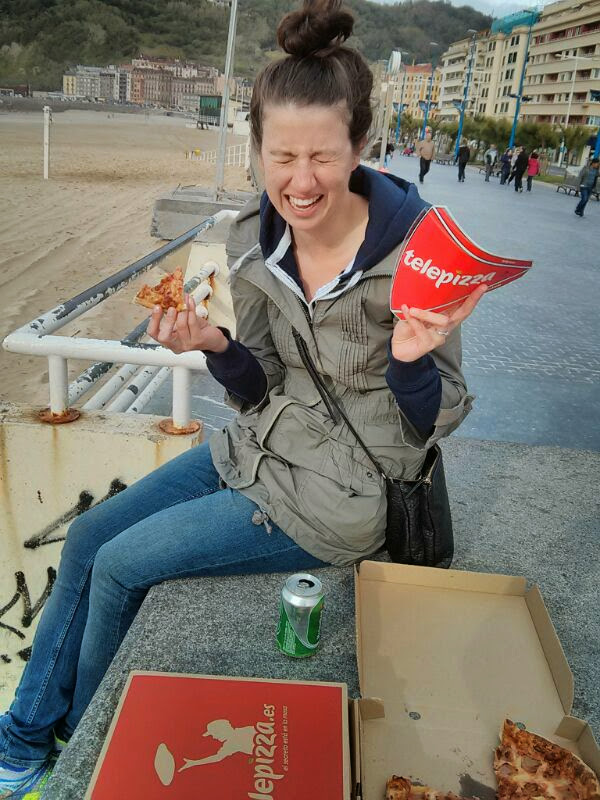 No Michelin stars here. Just yummy Telepizza on the beach.