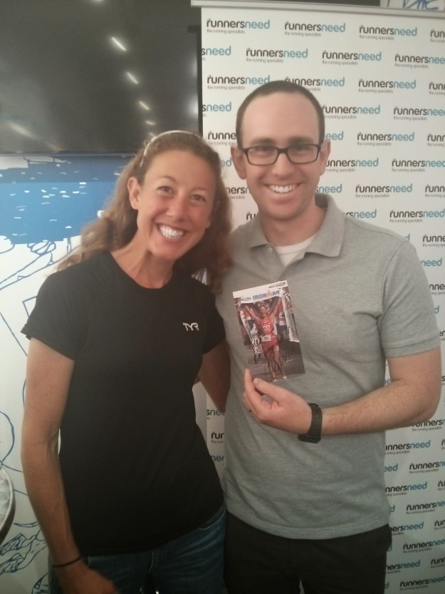 (not me but my Husband, Alex, pictured with Chrissie at a recent Brooks event)