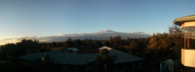 The view of Kilimanjaro from our hotel bar.